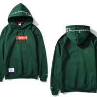 Tide brand Champion wild couple pure color embroidery cotton long - sleeved velvet hooded sweater Men Dark green