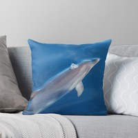 'Dreaming of dolphins' Throw Pillow by Chloé Yzoard