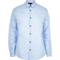 River Island MensBlue stretch long sleeve shirt