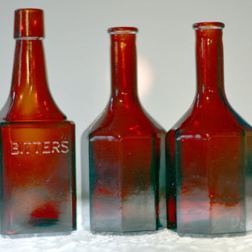 Vintage Ruby Red Glass Bitters Wheaton NJ  with 2 Ruby Red Wheaton NJ bottles total Set of 3