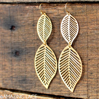 Mother Nature Leaf Earrings - Matte Gold
