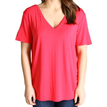 Watermelon Piko 1988 V-Neck Short Sleeve Top