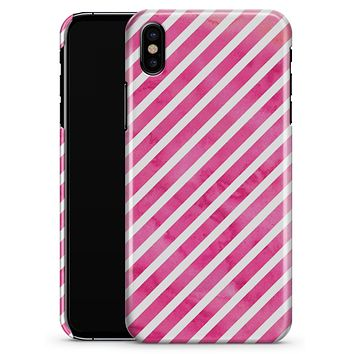 The Pink Watercolor Grunge with Slanted Stripes - iPhone X Clipit Case