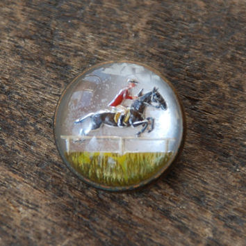 Vintage Goofus Glass Brooch Essex Glass Domed Brass Equestrian Horse Jockey Reverse Painted Art Deco 1930's // Vintage Costume Jewelry