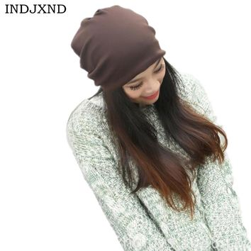 Winter multifunctional beanies woman gorros pure color performance women beanie hat high quality female skullies M028