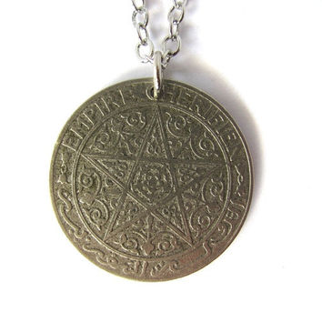 Coin Pendant Morocco 1 Franc 1921 Antique Moroccan Necklace Jewelry by Hendywood