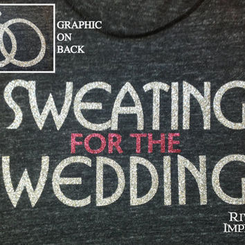 SWEATING for the WEDDING, 2-sided glitter workout jersey racer back tank