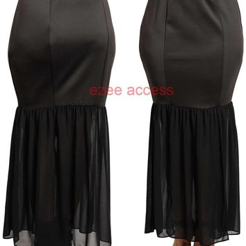 New Sexy Women's Plus Size Black Mermaid Flare High Waisted Stretchy Skirt 1X-3X