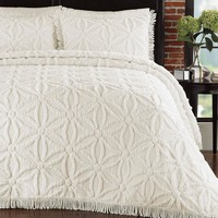 Full Size Cotton Chenille Bedspread with Flower of Life Pattern & Fringe Edge in Ivory