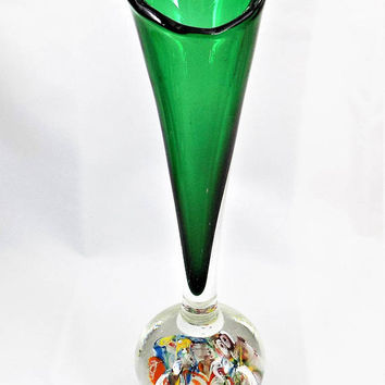 Lenwile Ardalt Millefiori Bud Vase, Blown Glass, Art Glass, Vintage Home Vases