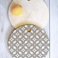 Heather Dutton Starbust Grey Cutting Board Round