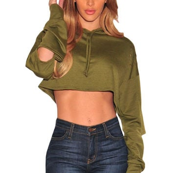 Olive Ripped Hoodie Crop Top LAVELIQ