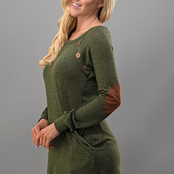 Tunic Top with Button Detail  - Olive