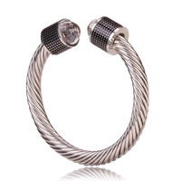 David Yurman Style Cable Bracelet Black Barrel with Crystal Gem