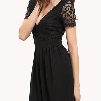 Streetstyle  Casual Black Patchwork Pleated Lace Hollow-out Deep V-neck Graduation Party Mini Dress