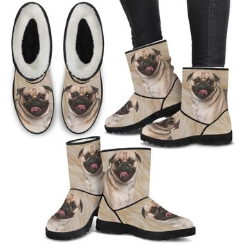 Pug Print Faux Fur Boots For Women-Free Shipping