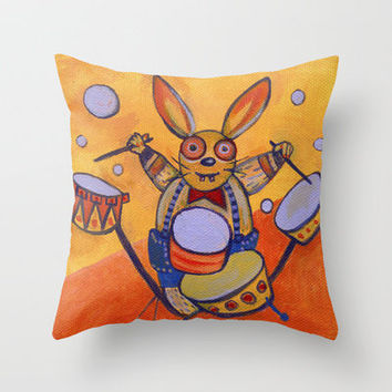 mad rabbit  Throw Pillow by Marianna Tankelevich | Society6