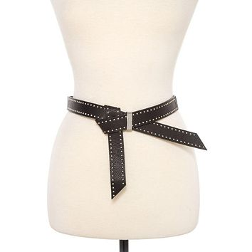 Studded faux leather stretch belt