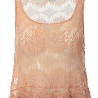 European Style Cropped Hem Floral Pattern Lace  Vest from perfectmall