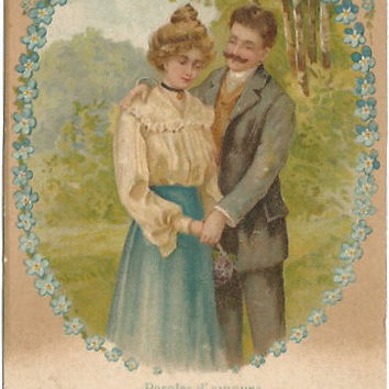 Romantic French Couple in Meadow Scene Sweet romance Love Amore Vintage Postcard
