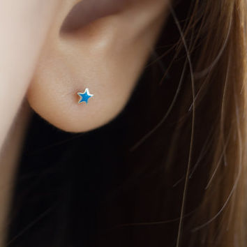 Blue Enamel Star Studs, Star Earrings, Star Ear Studs, Blue Star Earring, Star Stud Earrings, Enamel Star, Star Earring, Cartilage Earring