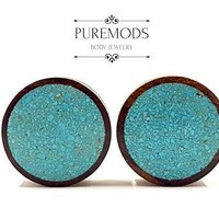 Crushed Turquoise Organic Wood Plugs 00G (10mm)