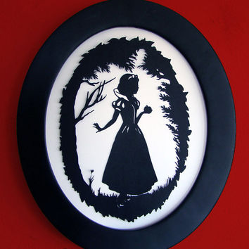 The Fairest of Them All - Snow White Framed Hand-Cut Papercut Silhouette Art