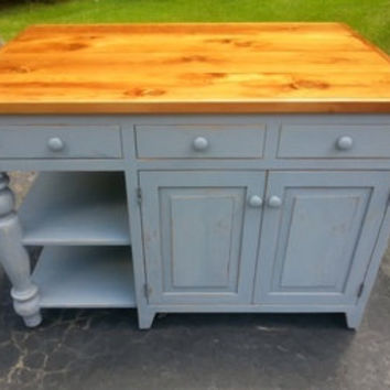 Reclaimed Barn Wood Kitchen Island With Drawers cabinet shelf Breakfast bar  54 X 35 X 26