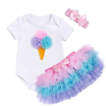 3PCS/ Ice Cream Romper+Rainbow Tutu Skirt+Pink Ribbon Headger Outfit Set for Newborn