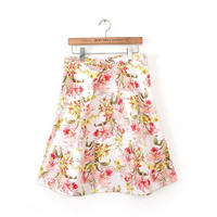 Spring Floral Print Pleated High-waisted Skirt