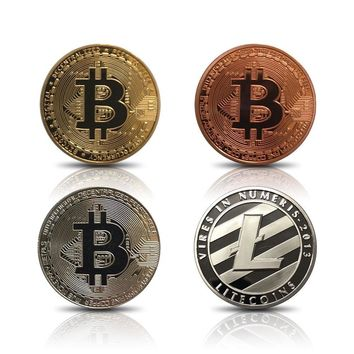 Bitcoin Gold Plated - Bitcoin Coin Decorations Includes Gold, Silver, and Bronze Color 3 Pieces- Fine Gold Bitcoin Commemorative Round Collectors Coin Set - Crafted Polished Mirror Finish (Type B)