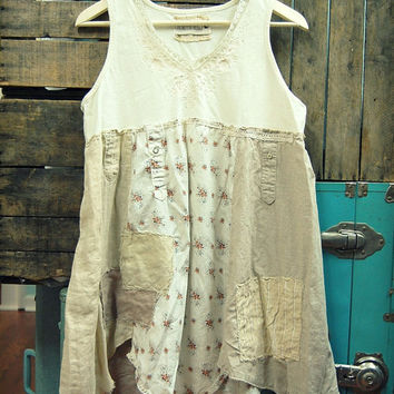 Large Boho Shabby Chic Tunic, Artsy Romantic Top, Hippie Upcycled Eco Friendly Women's Festival Clothing, Mori Girl Inspired