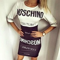 MOSCHINO Stitching Together Letter Print Hip Mini Dress I