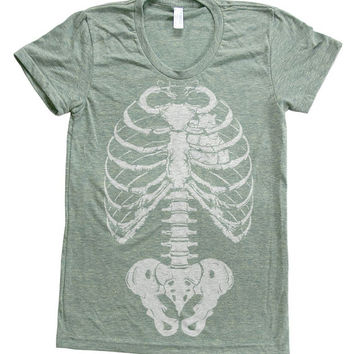 SKELETON Shirt Women Custom Hand Screen Printed on American Apparel Tri-Blend Short Sleeve Tshirt Available: S, M, L, XL