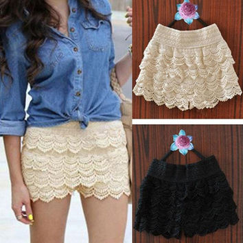 New Summer Woman Shorts Sweet Style Lace shorts Crochet Hollow Elastic Waist Slim Short Pants = 1946163460