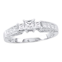 Diamond 3 Stone Bridal Ring in 14k White Gold 0.6 ctw