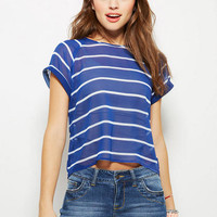 Striped Raglan Sleeve Top - Navy Stripe