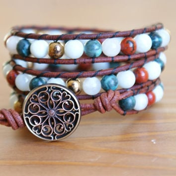 Gemstone Bohemian beaded leather bracelet, boho chic, triple Wrap, shabby chic, bronze, amazonite, green, hipster, gift idea, SALE