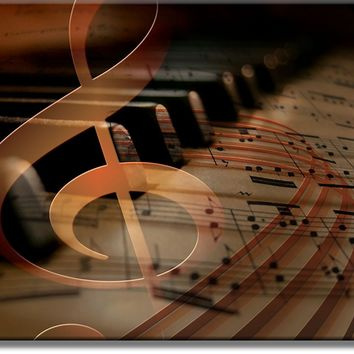 Music Notes Piano Picture Made on Acrylic , Wall Art Decor Ready to Hang!.