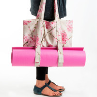 Sakura yoga mat bag - pink yoga bag - canvas tote - christmas gift - tote bag