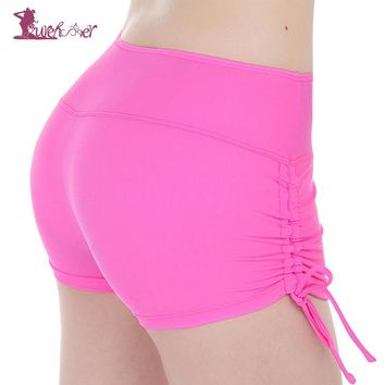 Lurehooker Women Quick Dry Yoga Shorts Solid Breathable Fitness Drawstring Short Sports Running Polyester Yoga Short