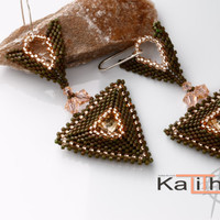 Miyuki Delica  Beaded Earrings. Geometrical Design by Kalitheo Creations / Elegant / Statement Earrings