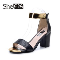 She Era Women's Shoes Mid Heels Summer Sandals for Woman Causal PU Buckle Strap 6CM Rubber Thick Color Black/White size 35-39