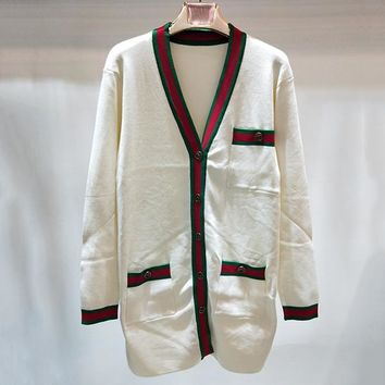 GUCCI Women Fashion V-Neck Stripe Cardigan Jacket Coat