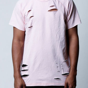Light Pink | French Terry Distressed Side Zip Shirt