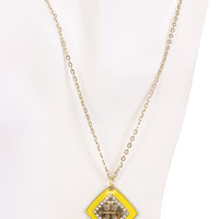 Yellow Square Pendent Slender Chain Necklace