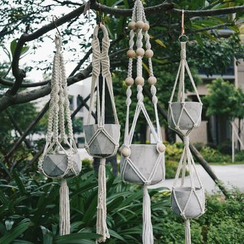 Knotted Macrame Plant Hanger Vintage Cotton Linen Flowerpot Basket Lifting Rope Pot Holder Garden Tools Hanging Basket