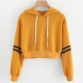 Varsity Striped Drawstring Hooded sweatshirt yellow Striped Varsity Print Crop Hoodie Preppy Pullovers Girls busos para mujer