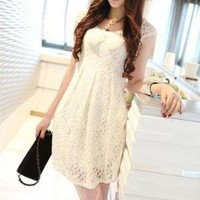 Temperament Chiffon short sleeve round neck dress by emma668