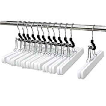 JS HANGER Wooden Skirt Hangers with Anti-rust Hook, White, 12-Pack